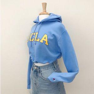 Light blue UCLA drawstring crop hoodie NWT